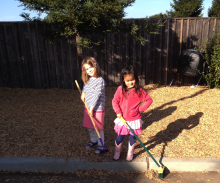 two girls sweeping